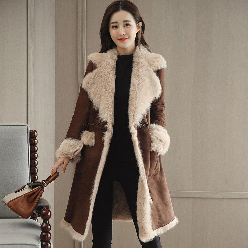 Lapel Plus Velvet Thicken Suede Lambs Wool Jacket Women Warm Long Parka Chaqueta Mujer Winter Coat Women Fashion Overcoat C4830