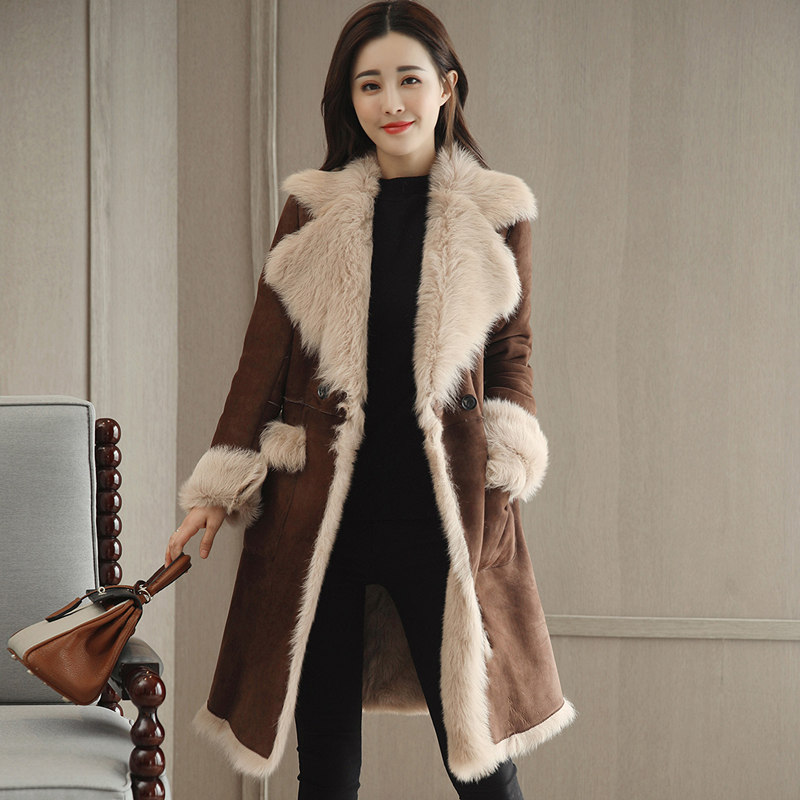 Lapel Plus Velvet Thicken Suede Lambs Wool Jacket Women Warm Long   Parka   Chaqueta Mujer Winter Coat Women Fashion Overcoat C4830