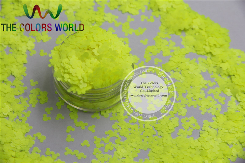 TCF500 Solvent resistant Neon Yellow Color Mickey Mouse shape Glitter Spangles for Nail Polish  Other DIY decoration 1Pack =50g nao for all we know neon yellow