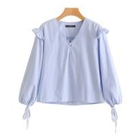 OL Stripe Shirt Women European Lace Loose Casual Lantern Sleeve V Neck Pullover Shirt Women