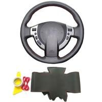 Black genuine leather hand sewing DIY braid steering wheel cover for Nissan Qashqai J10 J11 X Trail NV200 Rogue car accessories