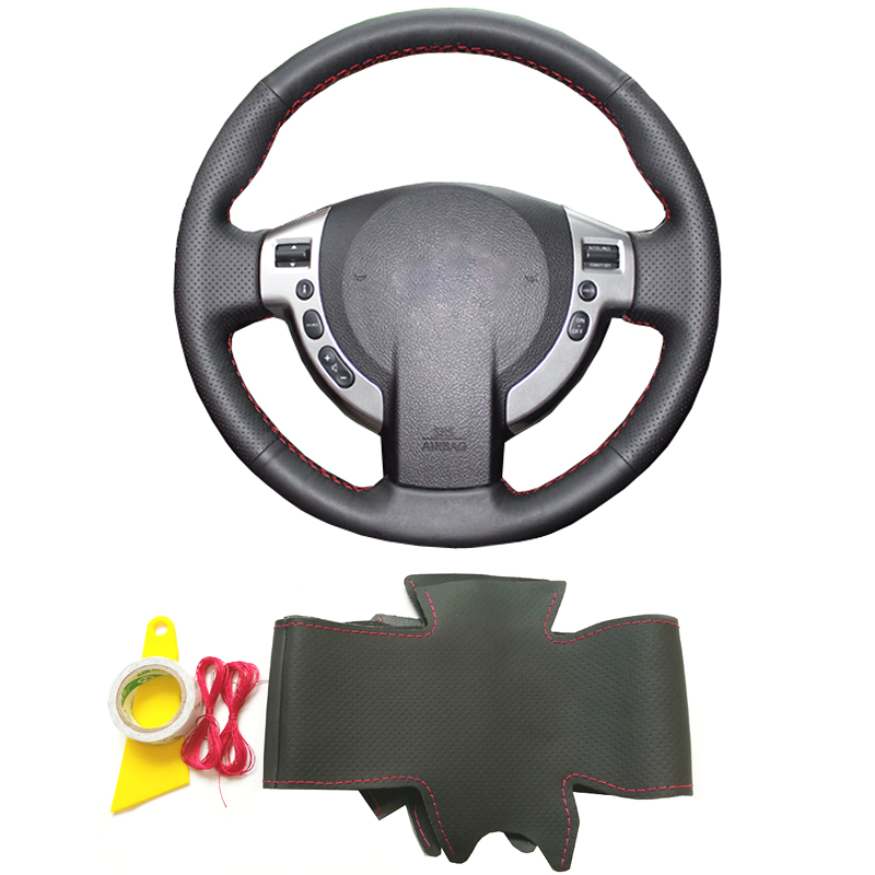 Black genuine leather hand sewing DIY braid steering wheel cover for Nissan Qashqai J10 J11 X-Trail NV200 Rogue car accessories diy top leather hand sewing car steering wheel cover black