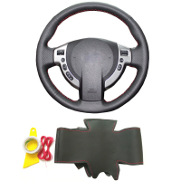 Genuine leather DIY braid steering wheel cover with needless car accessories for Nissan Qashqai J10 J11 X Trail T31 NV200 Rogue