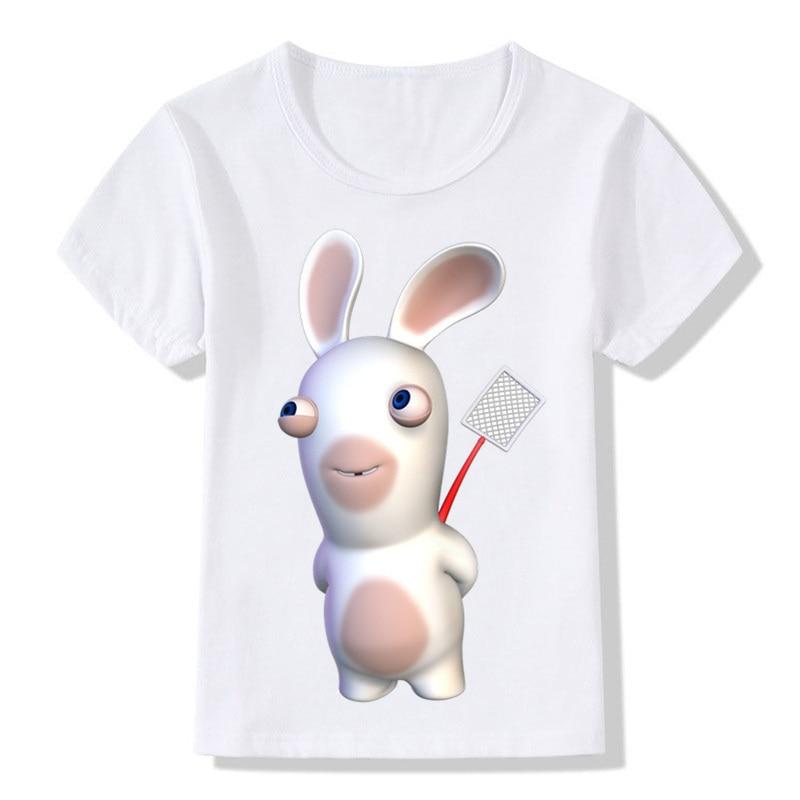 2-14 Years Children Cartoon Raving Rabbids Print T Shirt Boys/Girls Rabid Rabbits Funny T-shirt Kids Summer White Tops,ooo5202