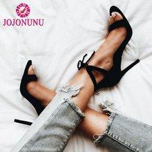 Купить с кэшбэком JOJONUNU Fashion Women Star High Heel Sandals Classic Lace Up Bowtie Gladiator Sandals Summer Nightclub Shoes Women Size 35-40