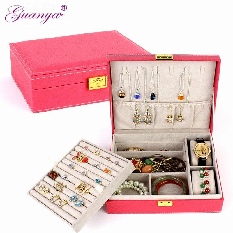 Guanya de doble capa de gran capacidad de regalo caja de joyería accesorios de terciopelo adornos de exhibición organizador de almacenamiento cajas de transporte