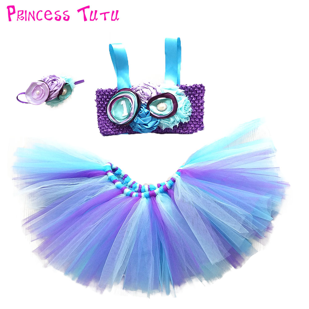 Princess Mermaid Ariel Cosplay Tutu Dress Toddler Girl Birthday Party Separate Character Tutu Dresses Halloween Custom For Kids