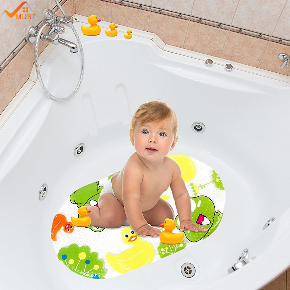 39cmx69cm cartoon baby bath mat non slip for kids anti skid baby bathtub mat with suction cups. Black Bedroom Furniture Sets. Home Design Ideas