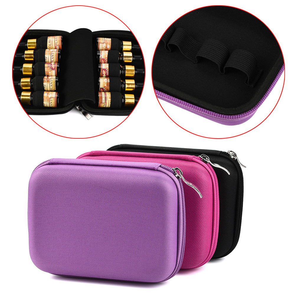 Travel Toiletry 10 Roller Bottles Essential Oil Case Carry Holder Makeup Cosmetic Bag Organizer Handbag #2