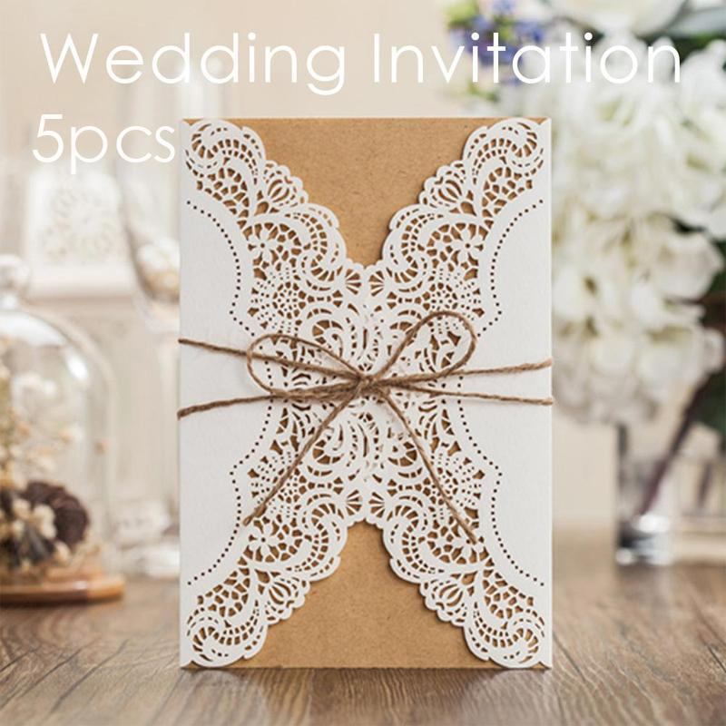 5Pcs White Lace Flower Laser Cut Wedding Invitations Elegant Birthday Party Vintage Greeting Cards Romantic Elegant 3 50pcs pack laser cut wedding invitations cards elegant flowers free printing birthday party invitation card casamento