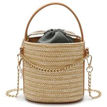 FGGS Women Straw Handbag Tote Summer Holiday Woven Bucket Bag Leisure Chain Shoulder Bag Crossbody Bag