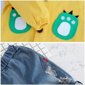 Image 5 - Kind Baby Jungen Kleidung Sets Cartoon Mantel 3PCS Mode Kleinkind Mädchen Baby Anzug für Jungen Mantel + t shirt + hosen 1   4 Y