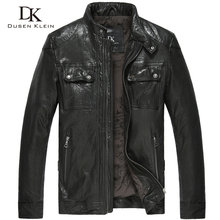 Dusen Klein 2017 New Brand Leather coats for men Luxury Motorcycle/Slim Nature sheepskin jacket black/wine red 14L1118