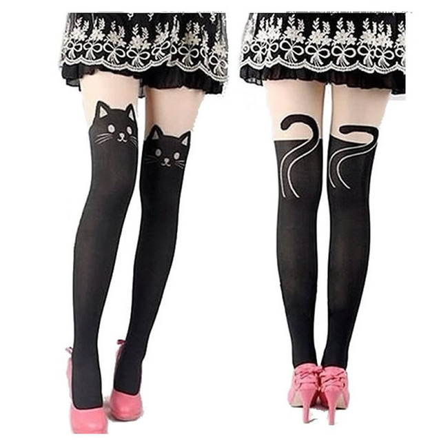ad1e5c43f27 New Fashion Nylon Cat Head And Tail Tattoo Stockings Women Sexy Thigh High  Pattern Tights One Plus Two Pantyhose Cheap Wholesale
