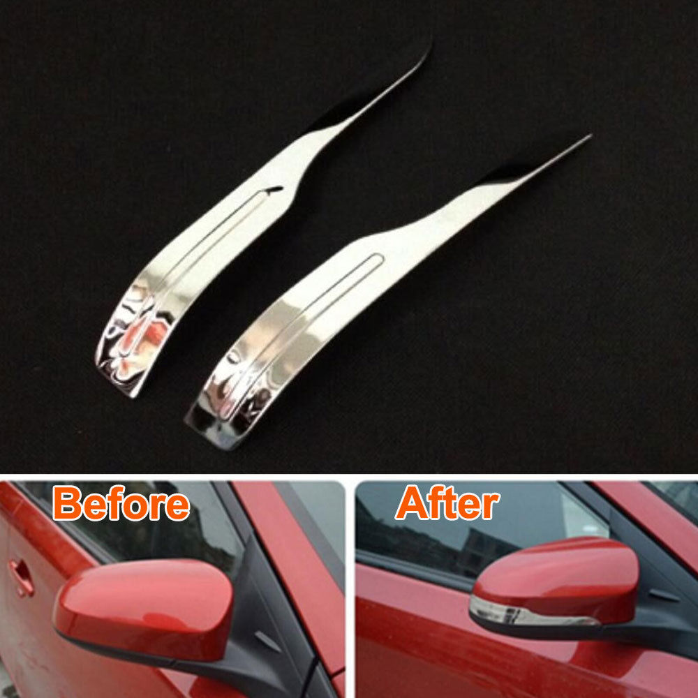2x metal car styling rearview door side wing mirror cover trim strip decoration sticker fit for