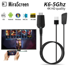 Mirascreen k6-5Ghz TV Dongle Dual Band 2.4GHz 5.8GHz 4K HD WiFi Miracast Airplay DLNA Stick EZCast display dongle
