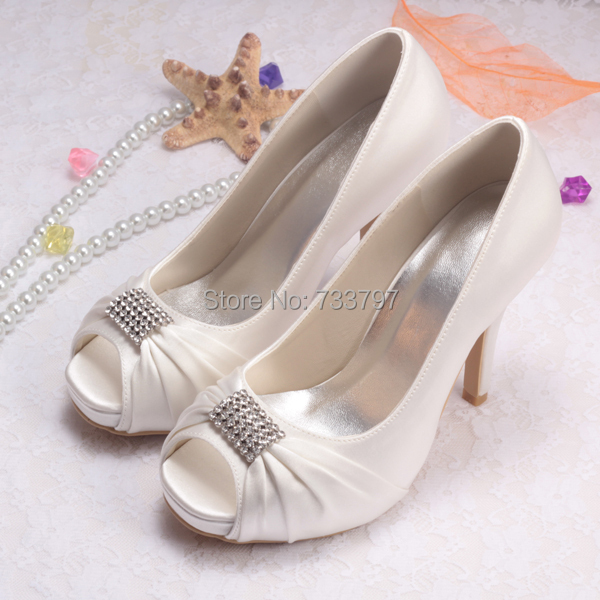 9c5cbb2a002 Elegant Brides Heels Cream Peep Toe Platform Pumps High Heel Shoes Wedding  Dropship-in Women s Pumps from Shoes on Aliexpress.com