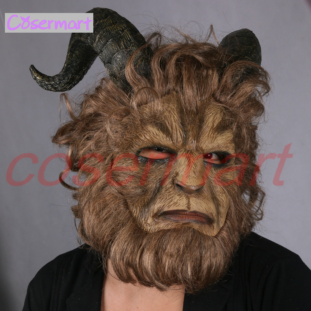 2017 Hot Movie Beauty and the Beast Adam Prince Mask Cosplay Horror Mask Latex Lion Helmet Halloween Party (7)