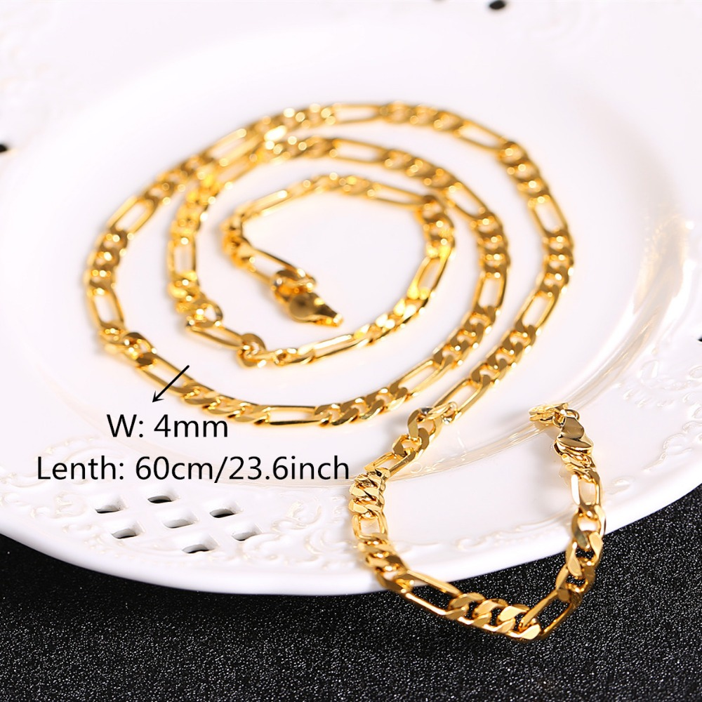 link itm filled chain bracelet gold gift real mens chains curb s set necklace