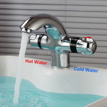Free Shipping New Chrome Deck Mount thermostatic mixer tap Thermostatic Basin Faucet Temprature Adjust Mixer Valve tap ZR984