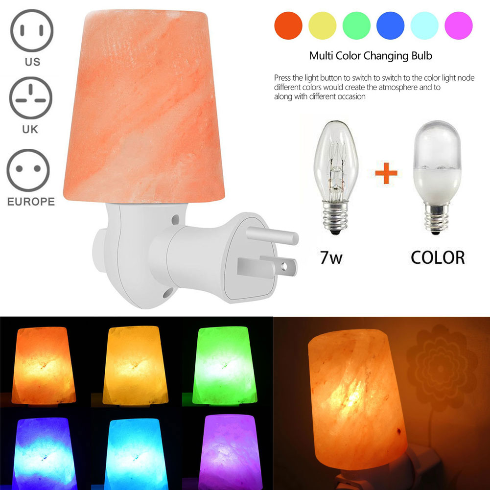 Hand Carved Himalayan Crystal Salt Light with LED Color Changing Bulb Wall Plug Lamp for Air Purifying Home Decor -- WWO