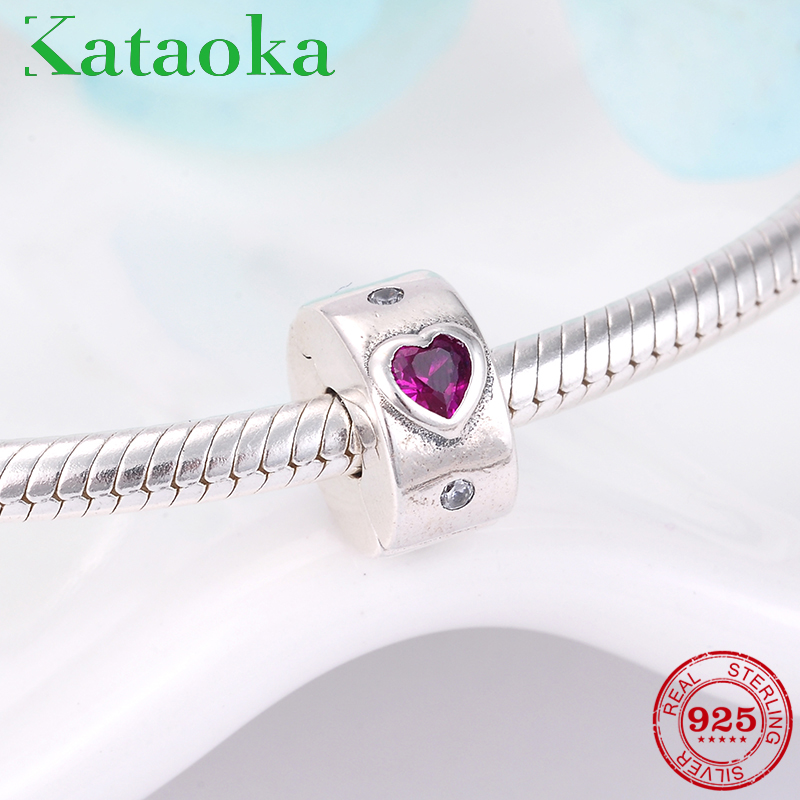 Real 925 Sterling Silver Rose red heart round Clip beads for jewelry making fit Original Pandora Charms Bracelet