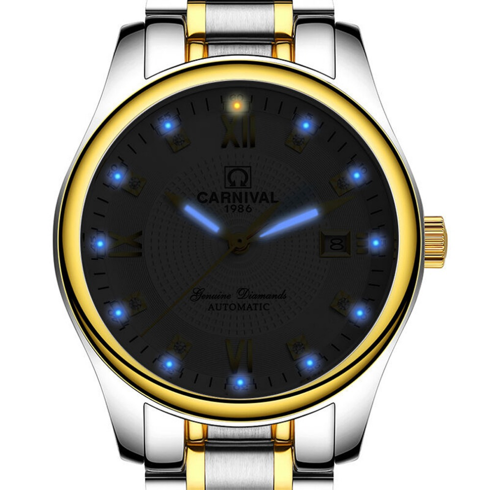 Carnival Mens Business Tritium Luminous Automatic Mechanical Watch Wristwatch - gold bezel white dial yelang v1015 upgrade version khaki number tritium gas yellow luminous men automatic mechanical business watch steel watchband
