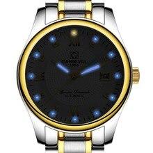 Carnival Mens Business Tritium Luminous Automatic Mechanical Watch Wristwatch – gold bezel white dial
