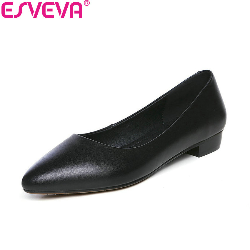ESVEVA 2018 Pointed Toe Women Pumps Shoes Cow Leather PU Square Low Heels Western Style Black Out Door Ladies Shoes Size 34-43 esveva 2018 pointed toe western style women pumps cow leather pu square high heels lace up out door ladies shoes size 34 43