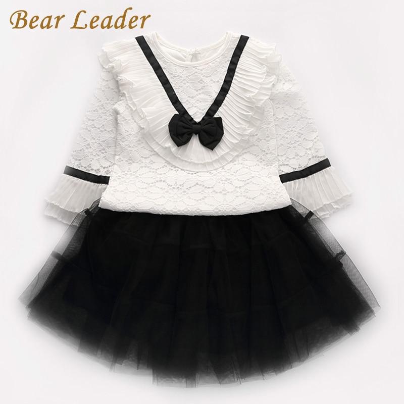 цена  Bear Leader Girls Clothing Sets 2017 New Autumn Kids Clothing Long Sleeve Lace Bow Shirt+Ball Skirt 2Pcs for Children Clothing  онлайн в 2017 году