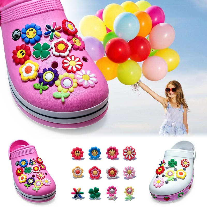 NEW Hot Sale 1pcs Lovely Small Flower PVC Shoe Charms,Shoe Buckles Accessories Fit Bands Bracelets Croc JIBZ,Kids Party Gifts
