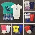 Новый Мальчик Летней Одежды установить Bebes Новорожденные 3 шт. набор мальчик одежда младенца мягкого Хлопка Футболку и Шорты комплект