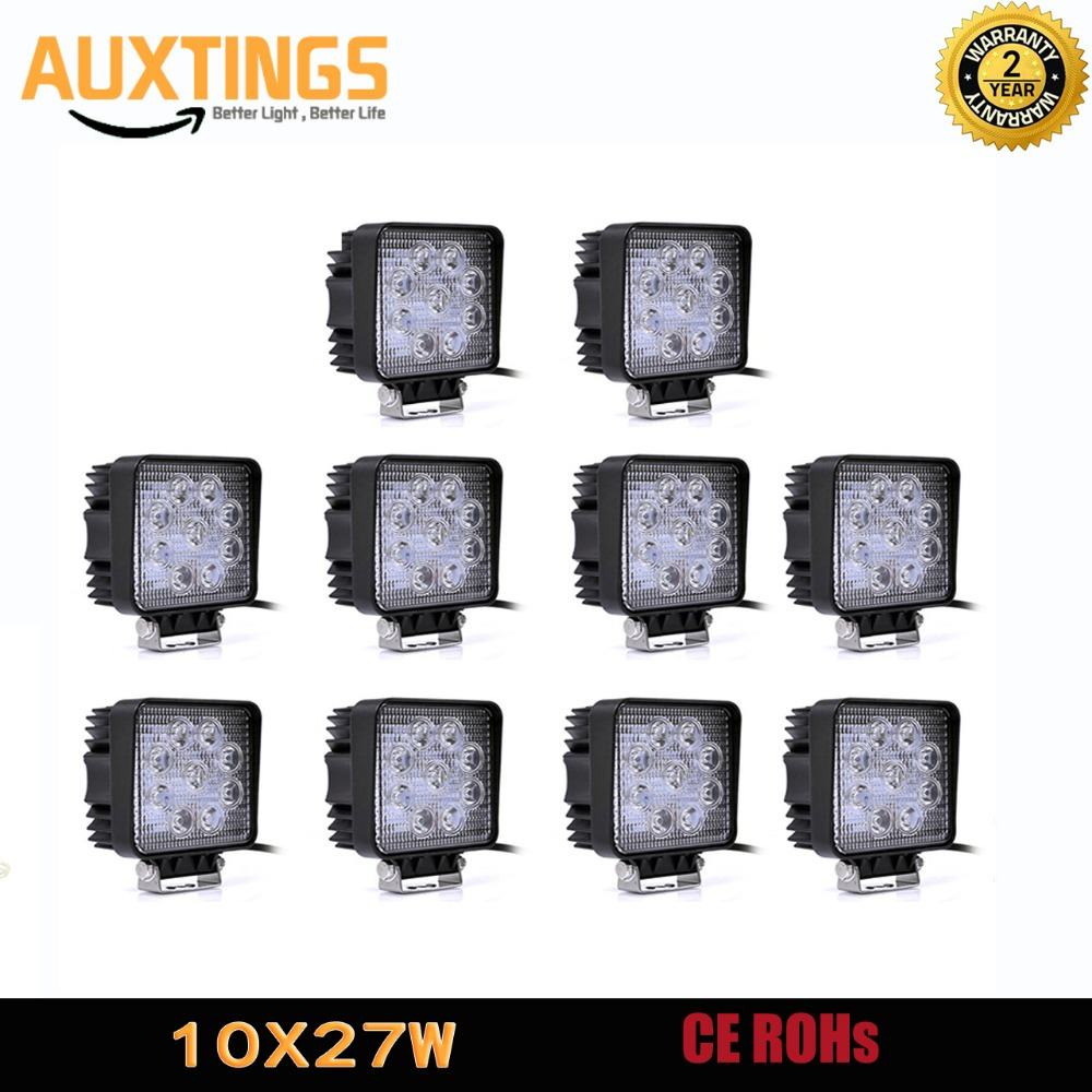 10PCS Offroad Led Light 4inch Led Work Light 27w SPOT FLOOD Square Led Work Lamp Driving Light For Tractor Car Truck Boat