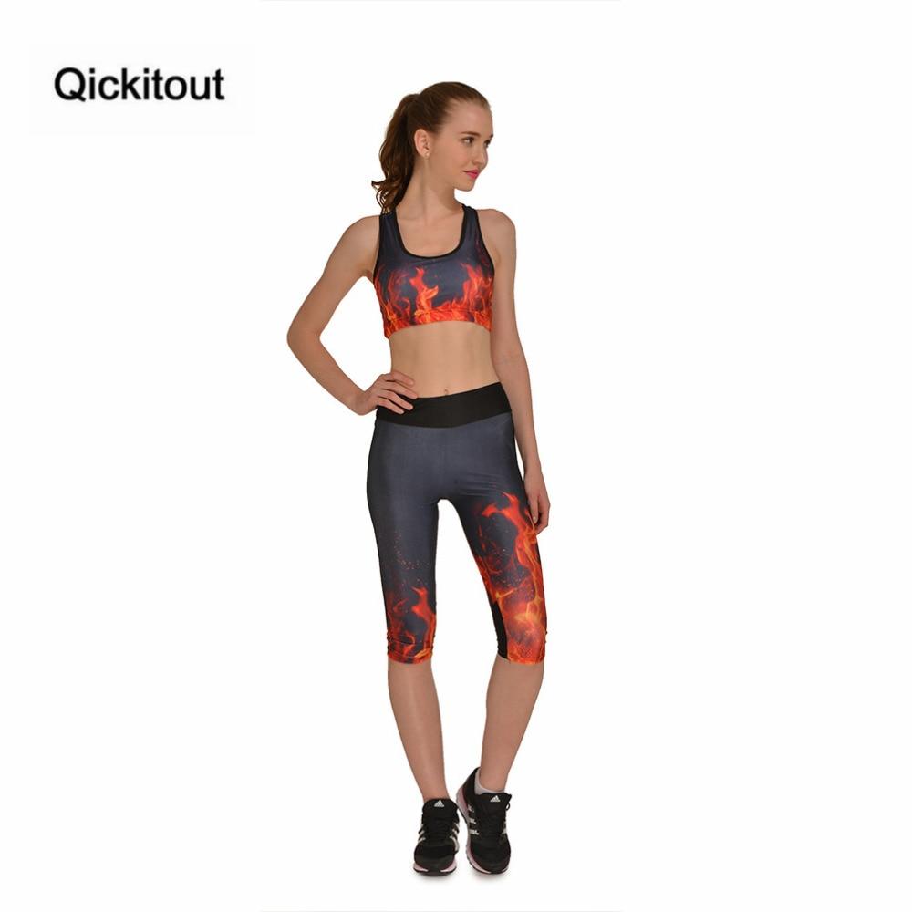 Qickitout Set Hot Women's Flame Burning Broke Out Digtal Print 2 Pieces Set Bra + Capri Pants Stretchy Tops Elastic Waist