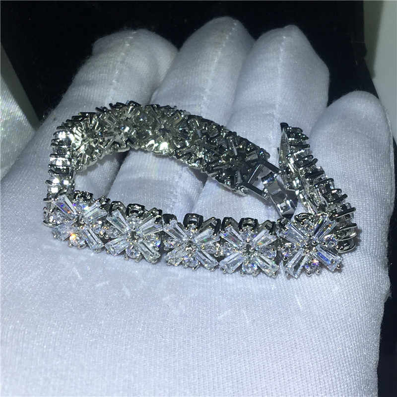 Choucong luxe fleur forme bracelet AAAAA Zircon pierre or blanc rempli fête mariage bracelets pour femme mode bijoux