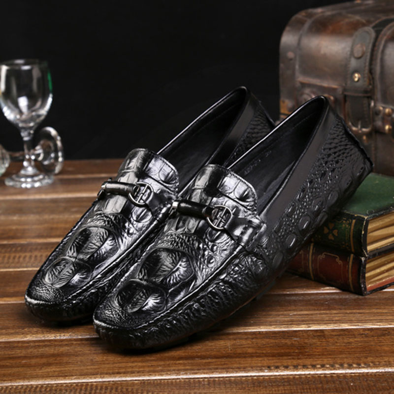 ФОТО 2017 New Spring British Style Men's Peas Shoes Handmade Crocodile Genuine Leather For Breathable Casual Red/Black Boat Shoes