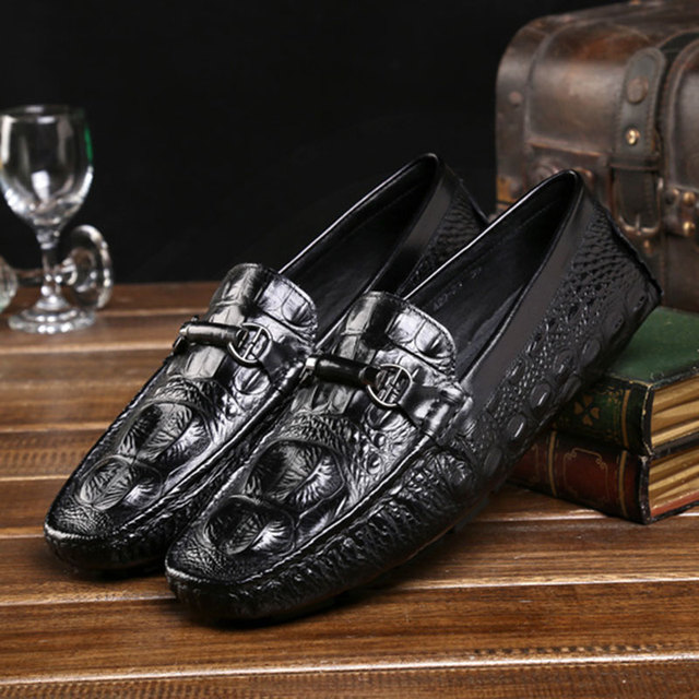 2017 New Spring British Style Men's Peas Shoes Handmade Crocodile Genuine Leather For Breathable Casual Red/Black Boat Shoes