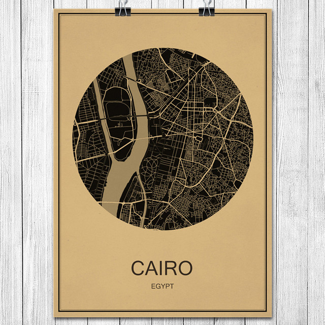 Online Shop Hot Sale CAIRO Round World City Map Krafts Paper