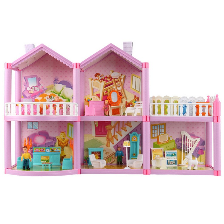 Kids Dollhouses Toys Villa Happy Family Theme House Princess Room Toy Suit Furniture Kits Girl Child Doll Gift Plastic