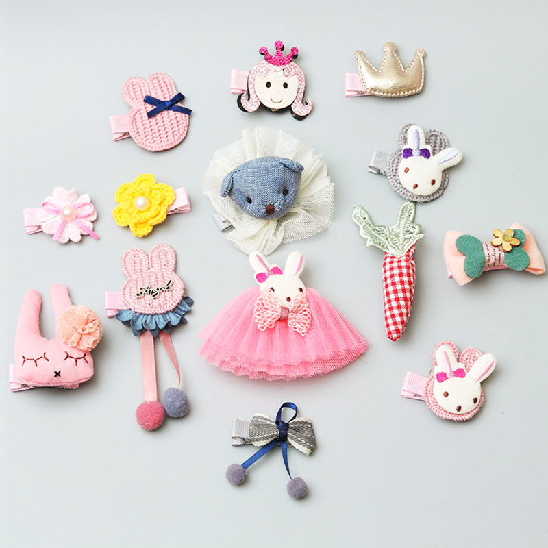 5pcs/set Children's Cute Headwear Set Girls Fashion Crown Bow Hairpin Hair Rope Princess Hair Accessories Small Animal Headdress