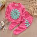 Girl Flowers T-shirt Pants Korean Baby Girls Sunflower Long Sleeve Tops + Trousers  2 Pieces 2-5 Year