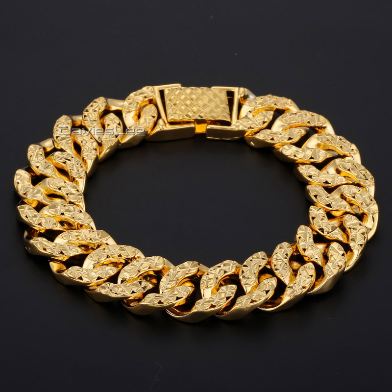Davieslee 14MM 19cm Men Chain Women Bracelet Fashion Shiny B