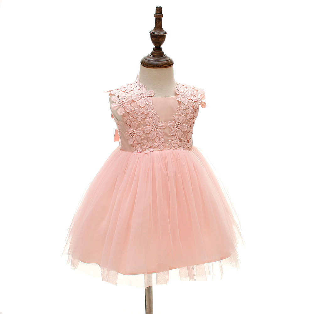 Glizt Baby Girl Dress White Chiffon Ball Gown Bead Bow Belt Baptism ...