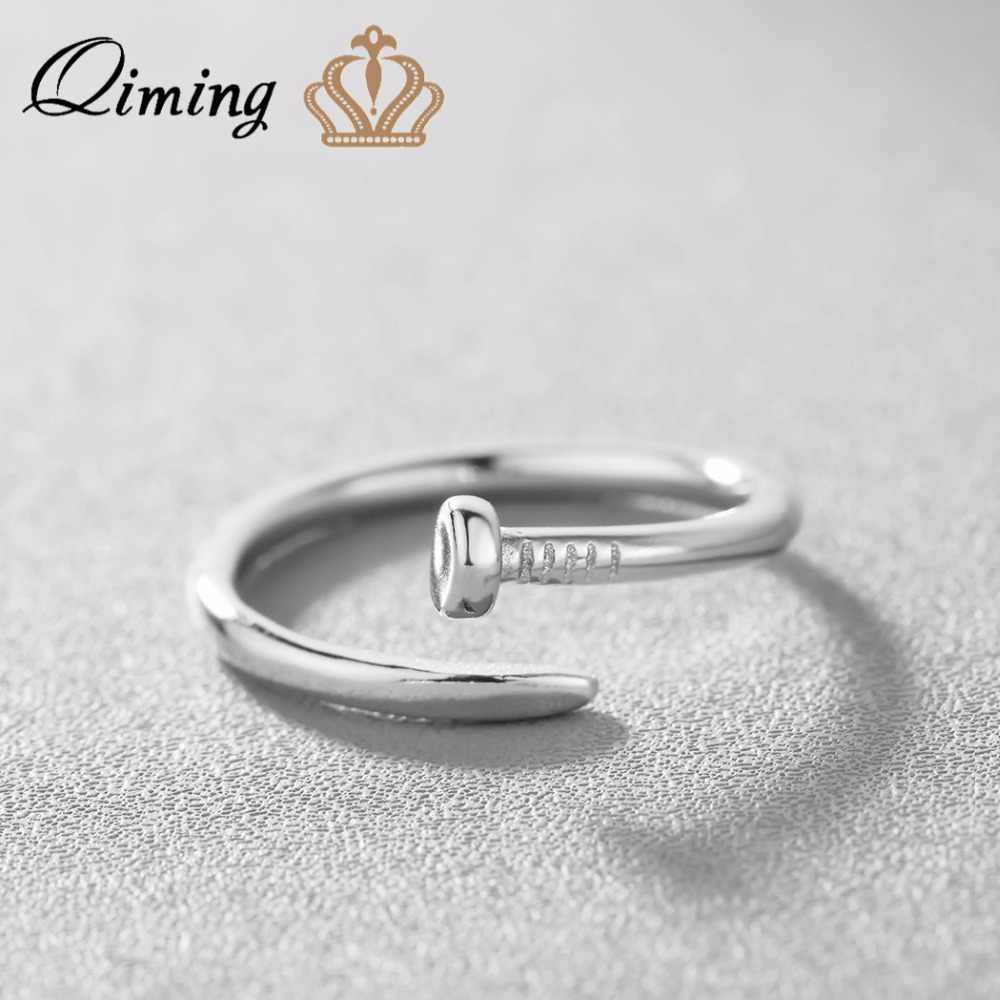 QIMING 925 Sterling Silver Men Jewelry Nail Ring for Women Punk Style Vintage Special Adjustable Simple Ladies One Ring