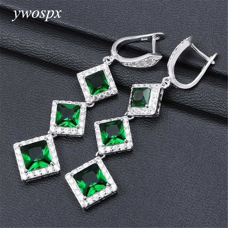 YWOSPX Many Color Shiny Square Zircon Stone Dangle Drop Earring Fashion Jewelry Earrings for Women Evening Dress Accessories Y30 in Drop Earrings from Jewelry Accessories