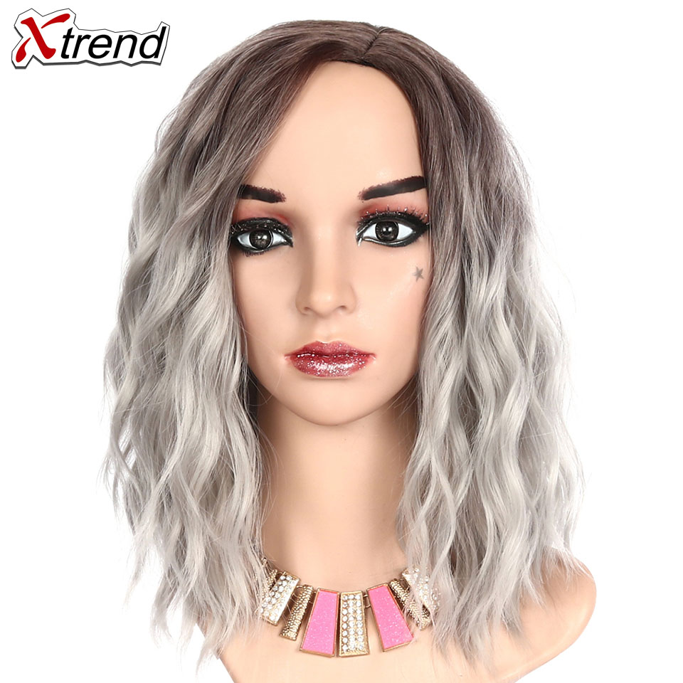 Xtrend Synthetic Short Wavy Wig Womens Grey Blue Pink Red Natural Hair Ombre Wigs Female Heat Resistant Fiber Perruque headpiece
