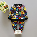 2016Hot sale baby boy clothes set unisex cartoon  long-sleeved T-shirt+pants 2pcs Infant bebe baby boy clothing set