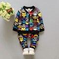 2016Hot venda roupas de bebê menino definir unisex dos desenhos animados longo-sleeved T-shirt + pants 2 pcs Infantil bebe conjunto de roupas de bebê menino