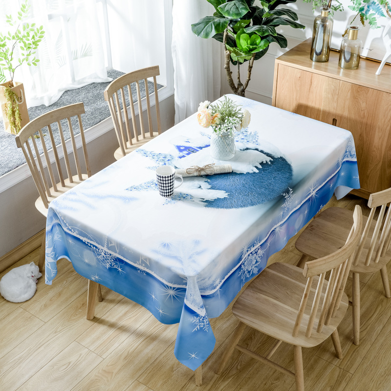 Nordic Christmas Deer Print Table Cloth Rectangular Polyester Fabric Tablecloth Dining Table Cover Tapete Wedding Home Decor D29