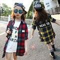 4 5 6 8 9 10 11 12 13 Anos meninas Camisa Xadrez de Manga Comprida Blusa Outono Para As Meninas das Crianças clothing